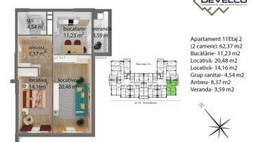 Apartament 11 Etaj 2 (2 camere): 62,92 m2