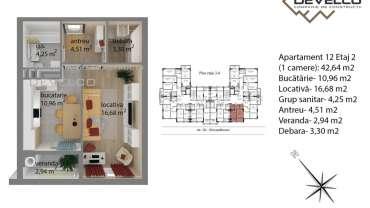 Apartament 12 Etaj 2 (1 camere): 42,64 m2