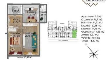 Apartament 5 Etaj 1 (2 camere): 67,8 m2