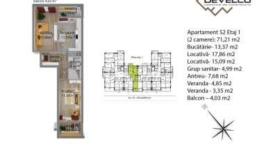 Apartament 52 Etaj 1 (2 camere): 68,74 m2