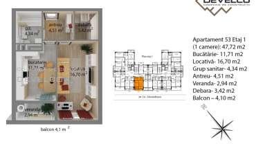 Apartament 53 Etaj 1 (1 camere): 44,86 m2