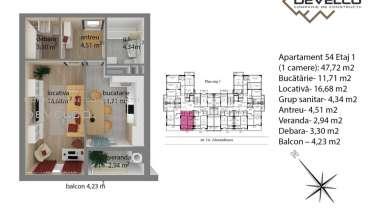 Apartament 54 Etaj 1 (1 camere): 44,76 m2