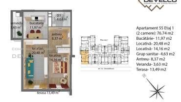 Apartament 55 Etaj 1 (2 camere): 67.8 m2