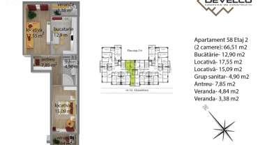 Apartament 58 Etaj 2 (2 camere): 66,83 m2