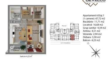 Apartament 6 Etaj 1 (1 camere): 44,75 m2