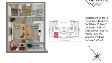 Apartament 60 Etaj 2 (1 camera): 42,76 m2