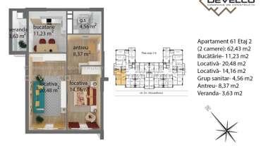Apartament 61 Etaj 2 (2 camere): 62,94 m2