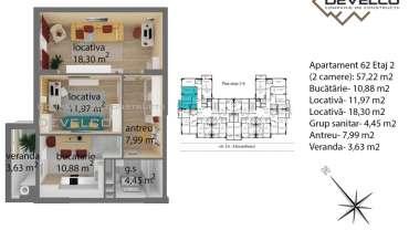Apartament 62 Etaj 2 (2 camere): 57,72 m2