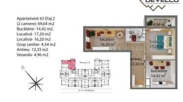 Apartament 63 Etaj 2 (2 camere): 69,64 m2