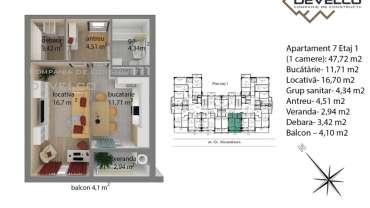 Apartament 7 Etaj 1 (1 camere): 44,21 m2