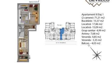 Apartament 8 Etaj 1 (2 camere): 68,74 m2